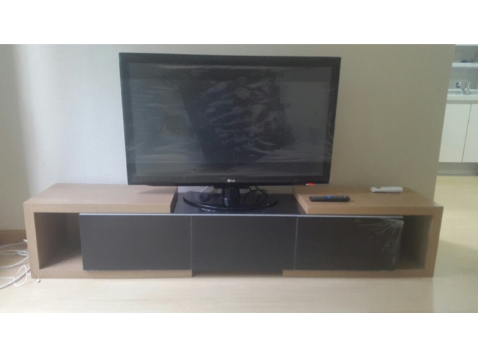 korea furniture rental TV Stand (Black&Wood)